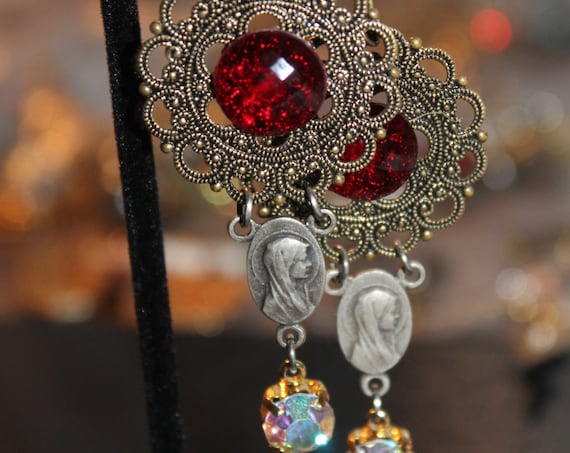 Dangle Earrings Virgin Mary  vintage assemblage Repurposed  rhinestones cabochons filigree bronze, mixed media art, upcycled, OOAK