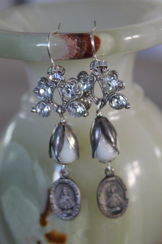 "Dangle Earrings ""Sacred HEART"" Flower Rhinestones, Pear Pearls assemblage Repurposed,  Art Deco,  Vintage beads, Crystals, Pearls"