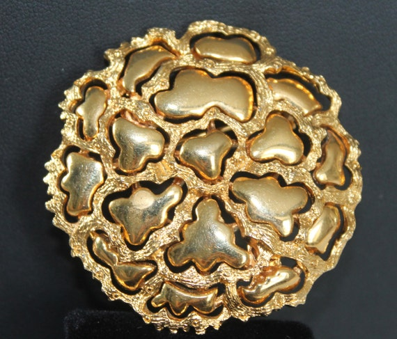 Brooch Vintage Gold Flower Brooch Pin, Designer ROGET Brooch, Large Gold Brooch, 1950s Modernist Abstract Costume Jewelry