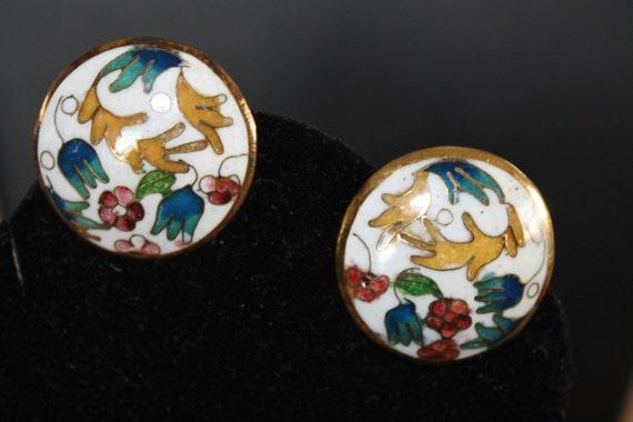 EARRINGS Beautiful genuine Cloisonne vintage clip on earrings .