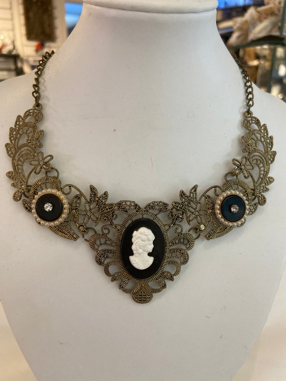 BIB NECKLACE cameo Chocker bib  metal filigree pearls onyx black rhinestones hand made one of a kind vintage assemblage cluster