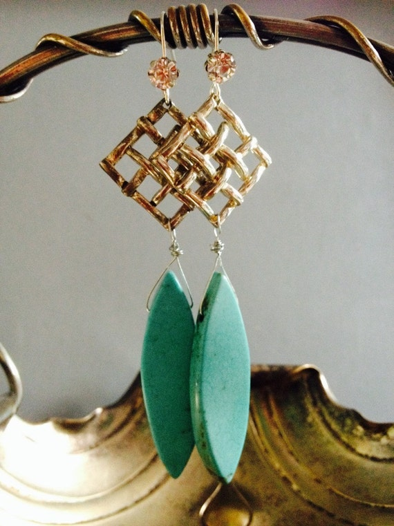 "Dangle Earrings ""Turquoise Drops collection"" assemblage Repurposed,  Art Deco, Vintage inspired, Crystals, Cross, filigree, Something Blue"
