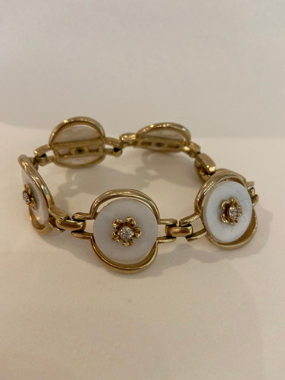 BRACELET Vintage  Mother of Pearl rhinestones Wide Gold Plated round links flowers