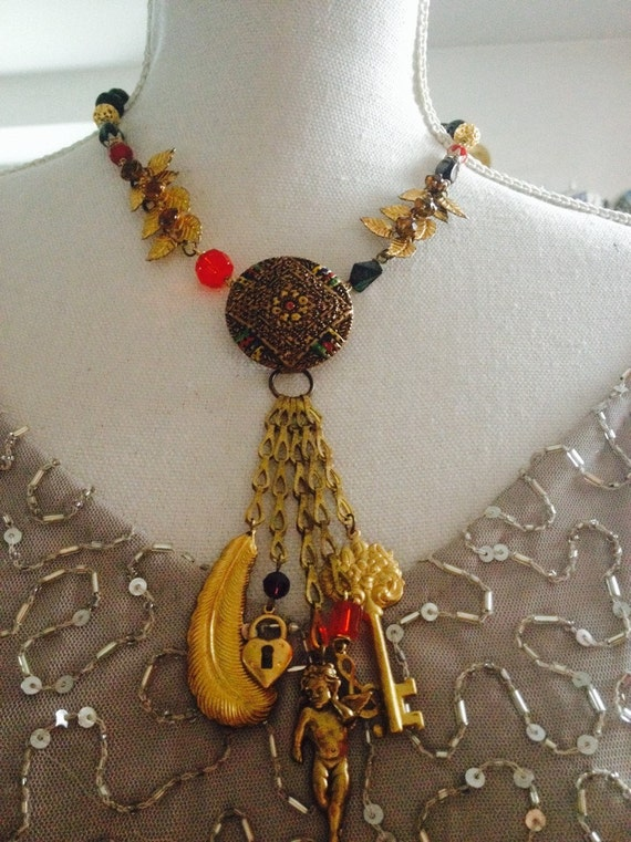Gold NECKLACE, charms dangles, Vintage assemblage, art nouveau, upcycled, repurposed, Vintage inspired, OOAK, lava beads, black red brass