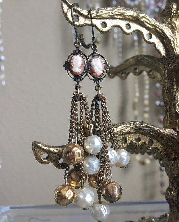 "Dangle Earrings ""Victorian CAMEO"" vintage assemblage Repurposed habd carved cameo  cabochons, filigree bronze frames, teardrop pearls OOAK"