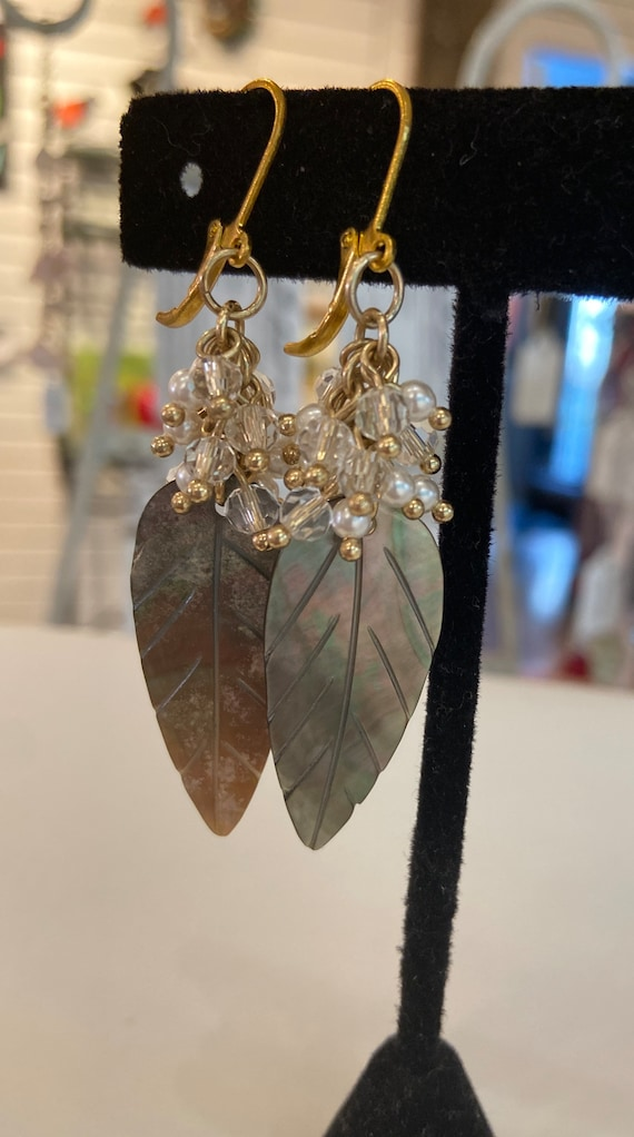 Carved mother of Pearl leaves pearls and crystals hand made earrings Gold plated lever back earrings OOAK