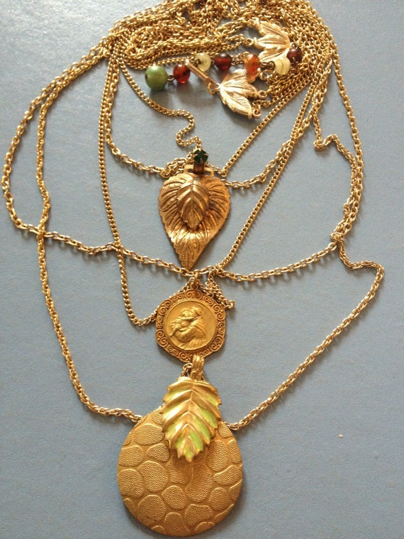"NECKLACE ""Saint Anthony Blessing"" gold leaves buckles, chains Vintage assemblage, Repurposed, Vintage gold chains, OOAK, repurposed jewelry"