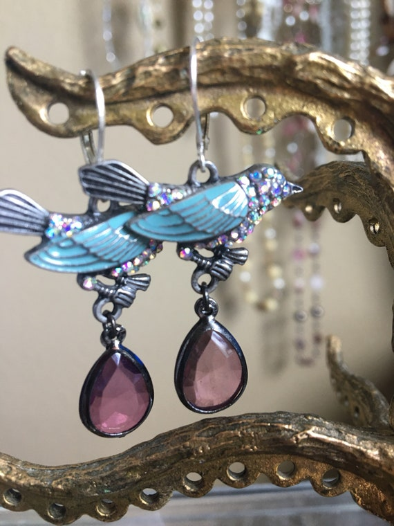 The Birds of Heaven assemblage Chandelier Earrings , Sterling Silver earwire, rhinestones, Glass beads,Art Deco, swallows