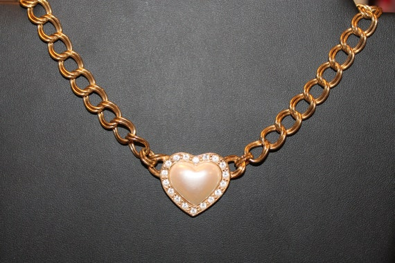 NECKLACE Vintage AVON Golden  Link and heart pendant with pearl and rhinestones necklace by Avon.