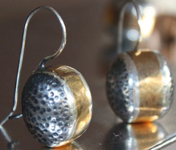 "EARRINGS Sterling Silver 925 earrings "" Bubbles"", hand made, one of a kind, gold plated, drops"