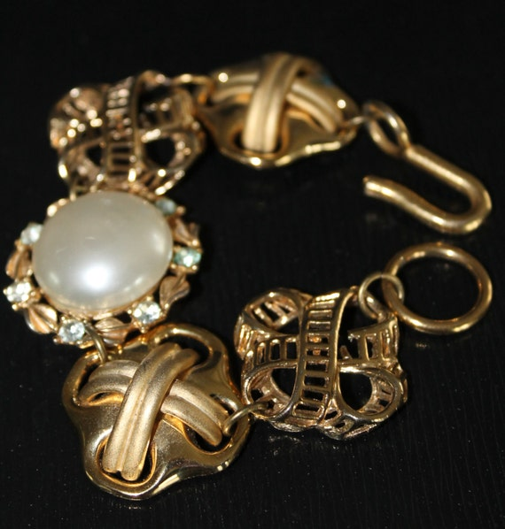 """Links Bracelet """"Retro Chic"""" Vintage Earrings Assemblage, Gold Pearl, Statement, Vintage inspired Recycled, Haute Couture, One of a kind OOAK"""