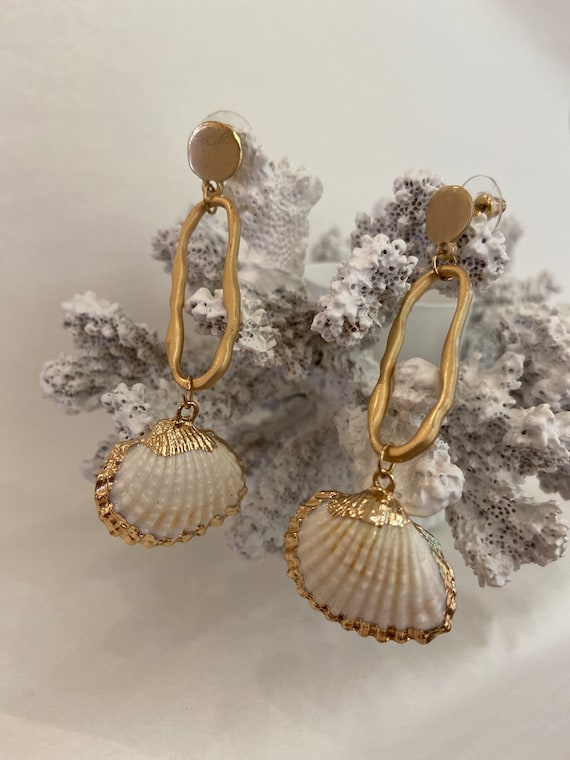 Golden shell Contemporary assemblage Dangle Earrings Repurposed,  Art Deco, textured gold metal, pierced earrings, one of a kind.