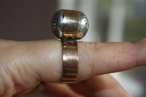 "RING Sterling Silver 925 ""Bubbles"" ring with brass, one of a kind, handmade, hand hammered, contemporary design."