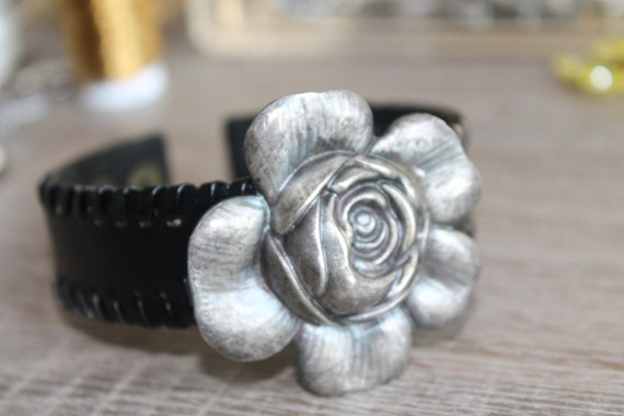 BLACK Leather CUFF bracelet, repurposed silver flower belt buckle, Steampunk, Art Nouveau, vintage assemblage jewelry, One of a kind, OOAK,
