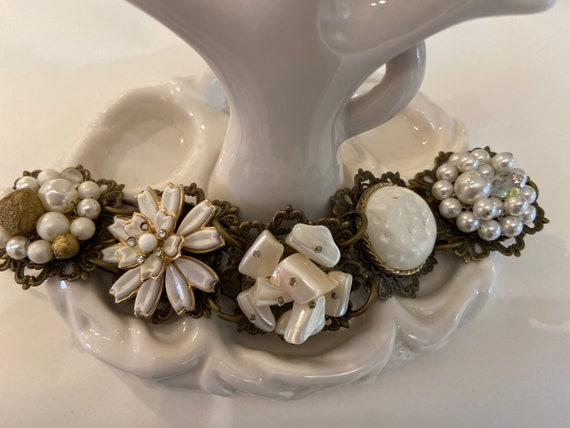 BRACELET, Gardenia Blooms, white pearl crystal vintage cluster earrings, bridesmaid gift, vintage assemblage, repurposed, OOAK, Links Cross