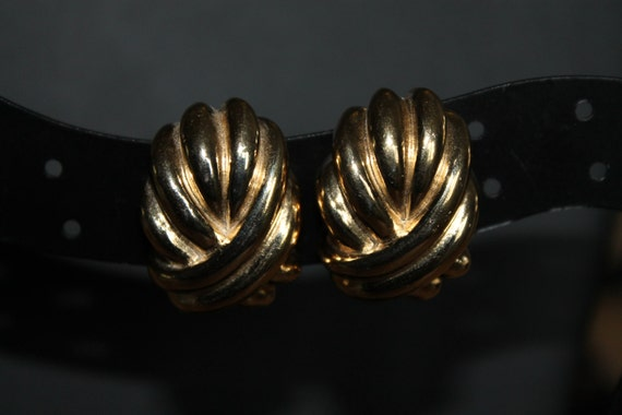 Vintage GIVENCHY Classic Chic Gold tone Knot Clip Earrings costume signed designer jewelry