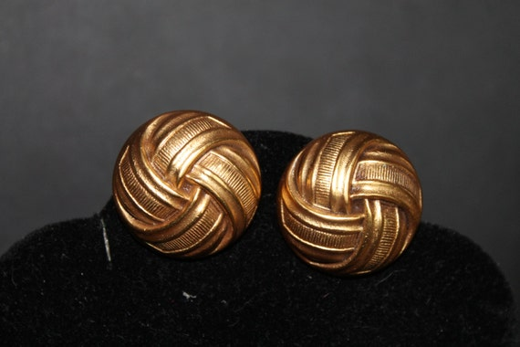 Vintage YVES SAINT LAURENT Earrings Gold Clip Signed