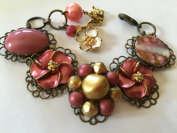 BRACELET, Fall Blooms, pink pearl crystal vintage cluster earrings, bridesmaid gift, vintage assemblage, repurposed, OOAK, Links Cross