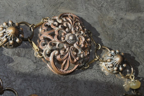 "BRACELET, ""Victorian Flower"" Art Nouveau, Vintage Assemblage, One of a Kind OOAK Repurposed, Antique Metal Filigree,  Upcycled, Recycled"