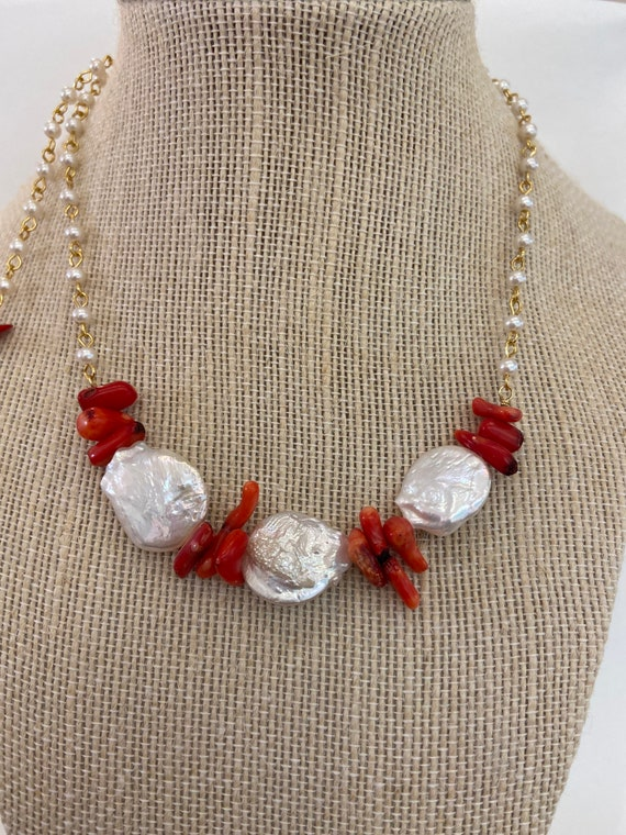 NECKLACE Chocker red corals baroque pearls, white red hand made one of a kind, vintage assemblage necklace, Christmas gift.