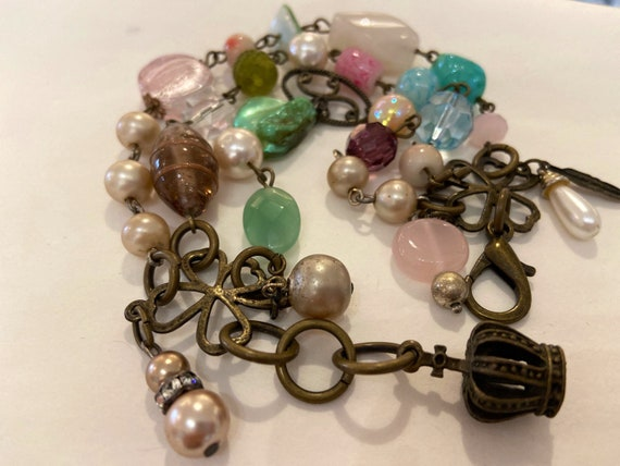 "Bracelets ""Delicious Pastels"" Assemblage Religious Medals, rosary, Charms, pink, pearls, rose quartz, jade, blue crystal, upcycled, OOAK"