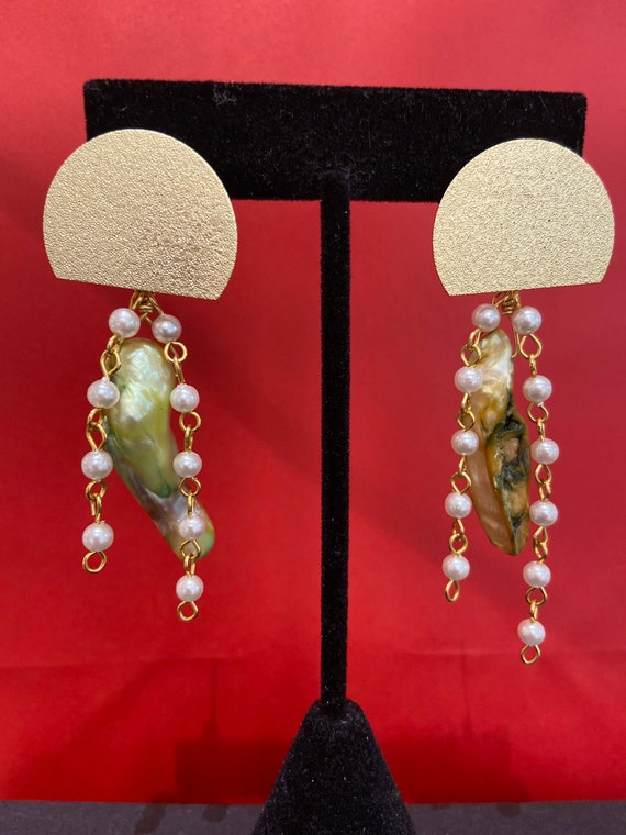 Jellyfish baroque Pearls assemblage Dangle Earrings Repurposed,  Art Deco,  filigree metal, Vintage beads, Crystals, baroque Pearls