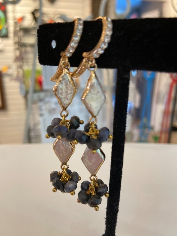 Tourmaline and pearls assemblage Dangle Earrings Repurposed,  Art Deco,  Rhinestones gold plated