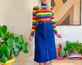 Vintage 1970s denim skirt M embroidered pockets retro 70s 80s dark wash high waisted jean skirt mid knee length stash pocket 28 29 waist