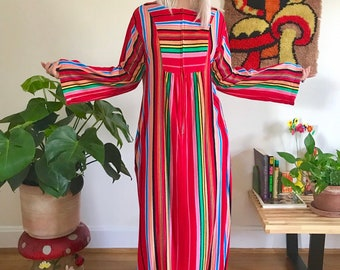 6eeeb4173094 Vintage 1970s rainbow striped caftan dress Free Size bell sleeve zip front  festival maxi dress retro 70s multicolored kimono loungewear M/L