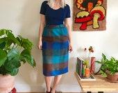 Vintage 1950s mohair plaid pencil skirt XS S 40s 50s midi skirt with pockets kick pleat metal side zipper Summit of Boston 25 quot waist