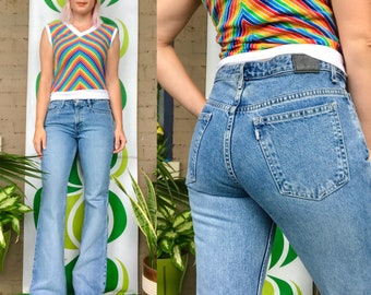 """Vintage Levi's Silver Tab bell bottoms 1990s Levis light wash low rise jeans retro 90s Y2K stonewashed hip huggers flares 29/30 x 31.5"""""""