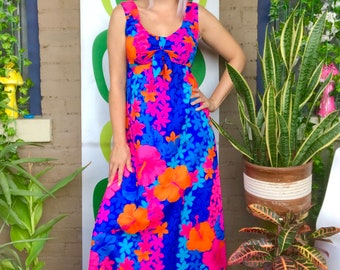 79b26071a37 Vintage 1970s Hawaiian maxi dress day glo pink orange blue sleeveless bow  tie sun dress Pomare Tahiti Honolulu Hawaii 70s maxi gown S