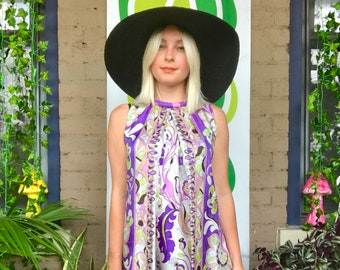 Vintage 1960s Pucci style romper sleeveless mini tent dress mod 50s 60s psychedelic floral printed flower power purple playsuit one piece
