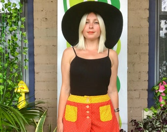 1960s flower power Peter Max style color block shorts mod 60s 70s hot pants retro booty short shorts red yellow floral high waisted shorts