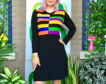 1970s rainbow striped long sleeve sweater mini dress vintage 60s 70s retro color block black knit body con 1960s rainbow dress S/M