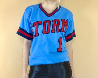 vintage 1970s Wilson baseball jersey, 70s baseball jersey, retro athletic jersey, 1970s Wilson shirt, 1970s jersey ringer, Storm jersey 36