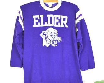 1970s jersey ringer, vintage football jersey, retro Elder Panthers 70s athletic jersey, Velva Sheen t-shirt, sports wear, racing stripes
