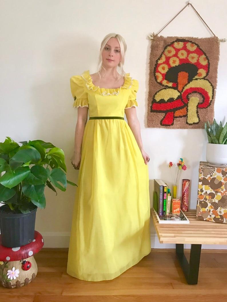 ce71b68b8c60 Vintage 1960s yellow puff sleeve ruffle collar maxi dress S   Etsy
