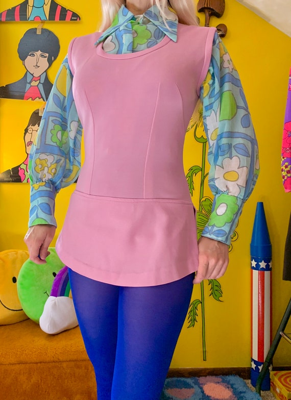 1970s lilac skirted bodysuit S-M // mod 60s 70s s… - image 2