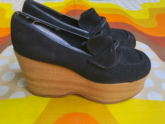 chunky black platforms Penny corduroy slip JC wedges kid club retro Gaymode platform on 1970s 70s disco Vintage wooden taq8zz
