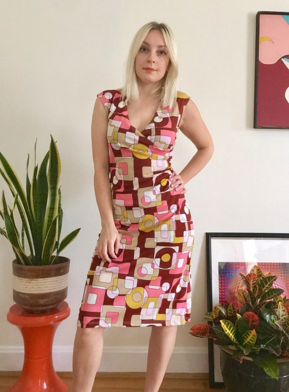 Vintage 90s Does 60s Psychedelic Op Art Body Con Dress S Mod Etsy
