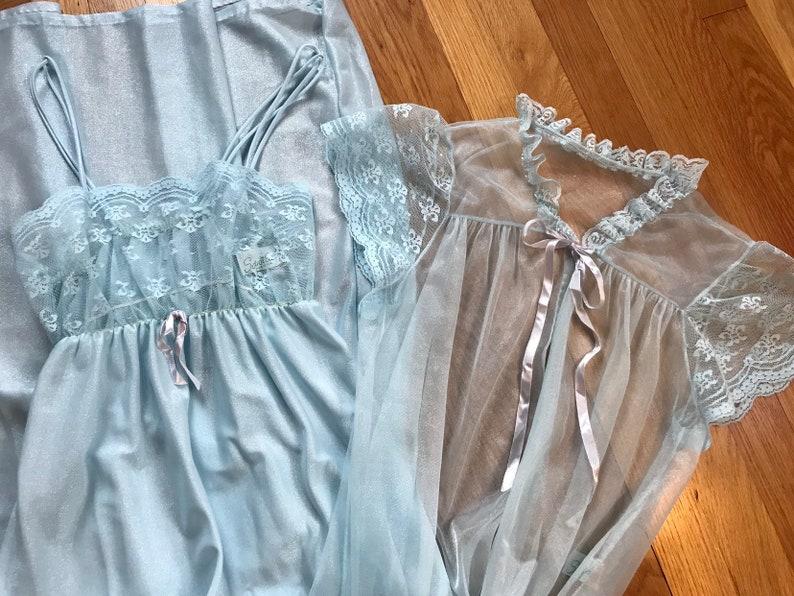 Vintage 1970s ice blue peignoir set XS-S  retro 70s lingerie negligee set maxi nightgown sheer lace robe ribbon bow tie Spotlight New York