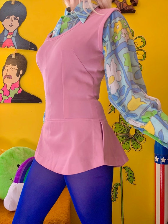 1970s lilac skirted bodysuit S-M // mod 60s 70s s… - image 3