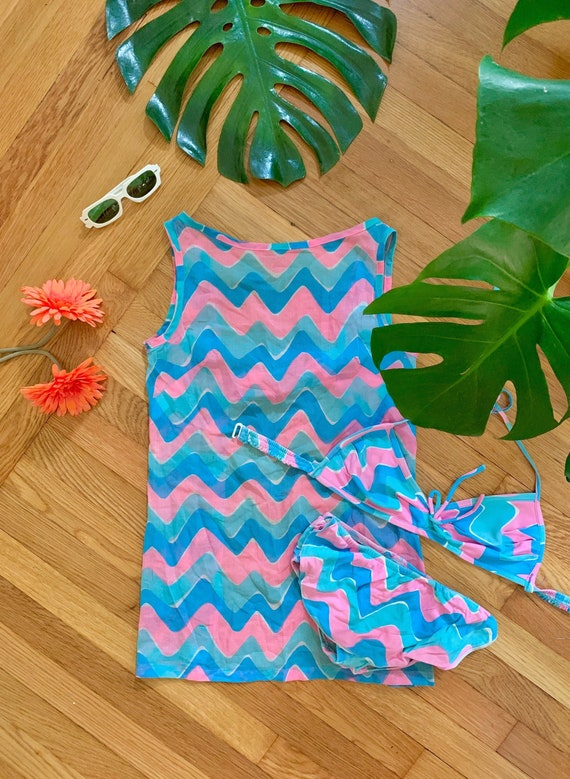 Mod 1960s psychedelic 3 piece swimsuit set XS // b