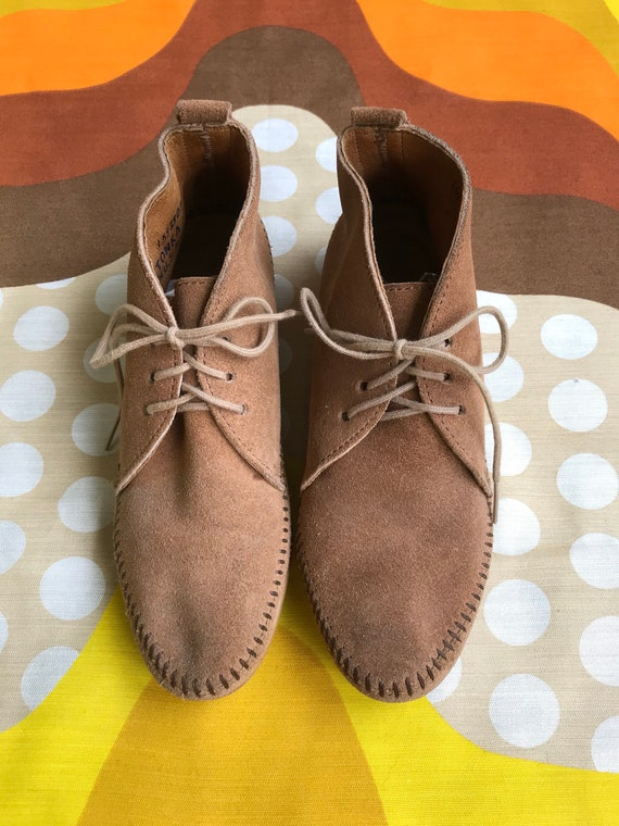 leather style up Vintage booties retro women's 70s neutral made boots lace ankle USA 6 moccasins tone hippie in Minnetonka suede 0ExOE