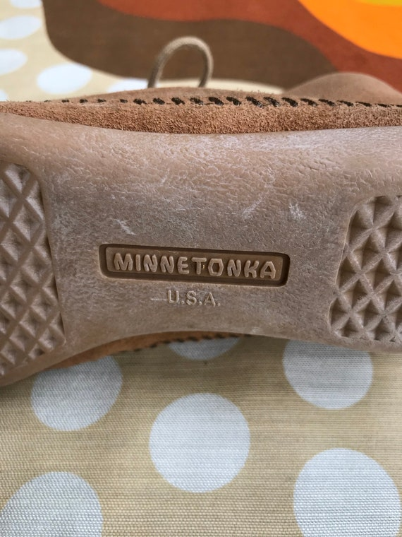 made ankle hippie Minnetonka booties USA women's 70s boots lace Vintage tone leather 6 moccasins in up neutral suede retro style Rq1c86FPcZ