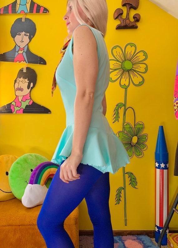 Vintage 1970s turquoise blue ruffled bodysuit Sma… - image 2