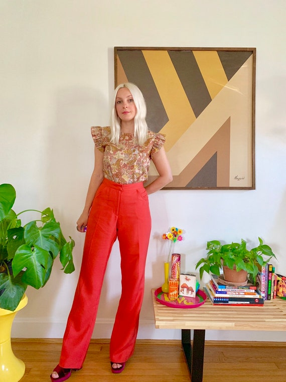 Vintage 1990s red silk pants M-L // 90s 00s raw si