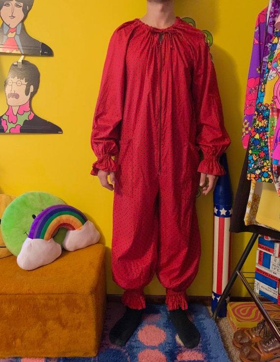 Vintage 1970s red + black polka dot Clown costume