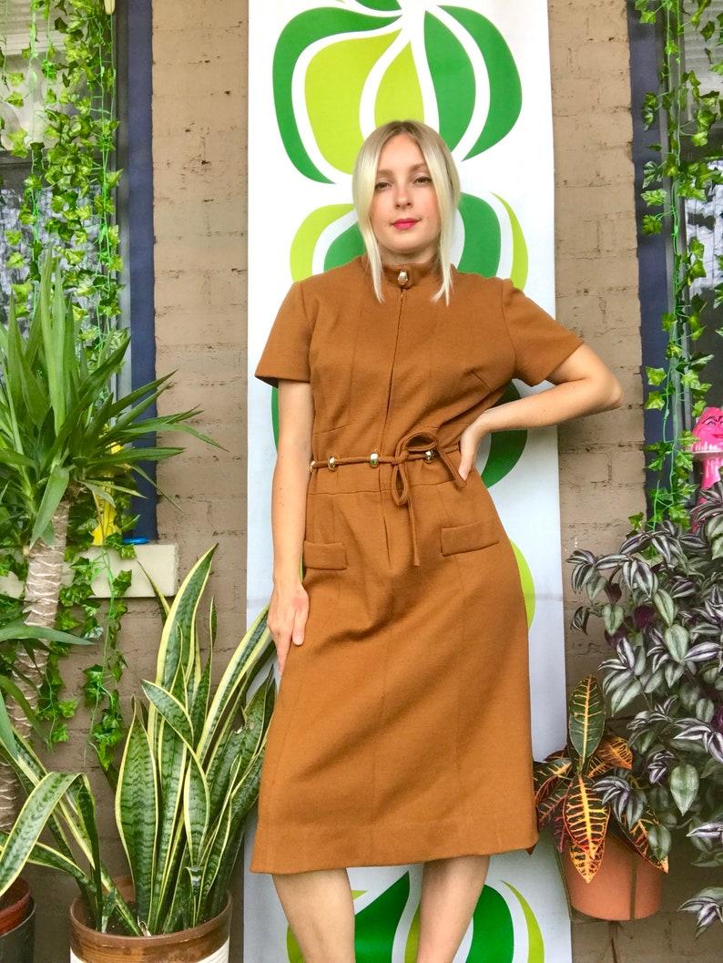 0bac38d10f9 Vintage 1960s wool dress mock neck decorative belted